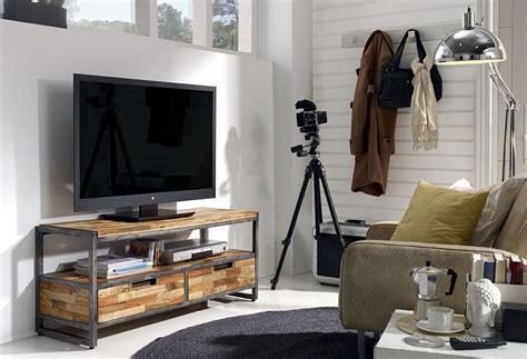 mueble tv  cajones teca reciclada material madera de teca reciclada  hierro pulido eur