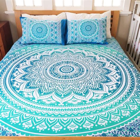 blue hippie floral mandala tapestry bedspread bed cover bohemian blue life flower indian queen size bedding 3