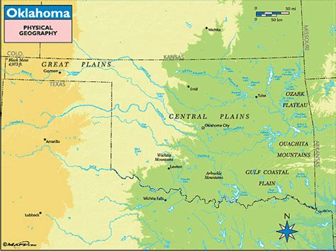 oklahoma rivers map oklahoma physical geography map by maps from maps