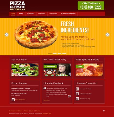 Pizza Delivery Websites Web Design Bay Area Seo Cms Development Pizza Website Template