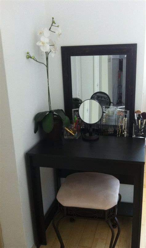 Small Makeup Vanity Desk Vanity Desk Idea For Small Apartment I Bought The Table From Ikea The Mirror At Local Thrift