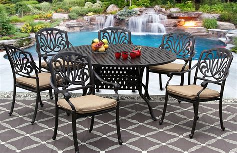 60 patio table set elisabeth cast aluminum outdoor patio 7pc set 60 inch dining table series 3000 with