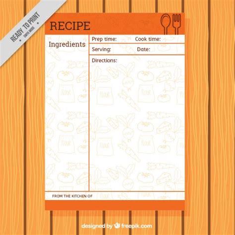 Kostenlose Rezeptvorlagen Rezept Vorlage Mit Lebensmitteln Zeichnungen Der Kostenlosen Vektor