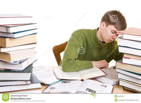 the sleeping books the sleeping student with books isolated stock image