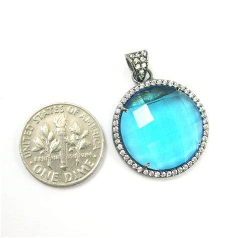 oxidized sterling silver pave bezel gemstone pendant