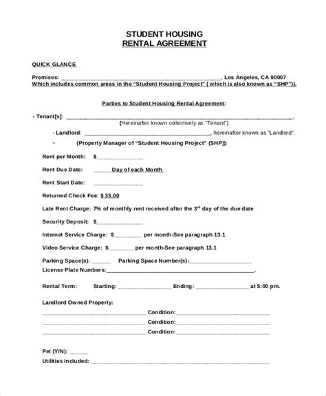 House Rent Agreement Letter Format Sle House Rental Agreement 10 Exles In Pdf Word
