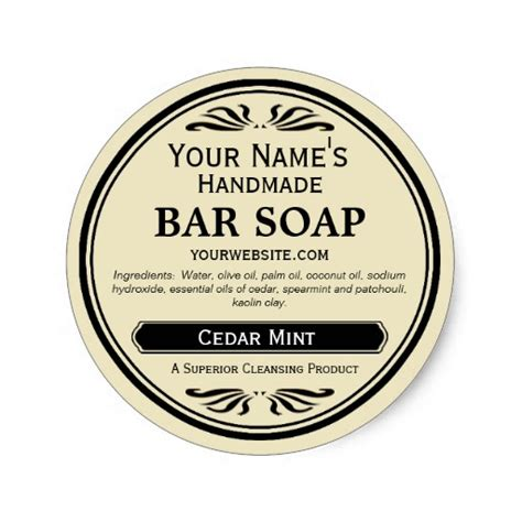 Handmade By Stickers - fashioned look handmade soap labels classic