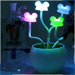 creative mickey mouse potted lights led sensor night light