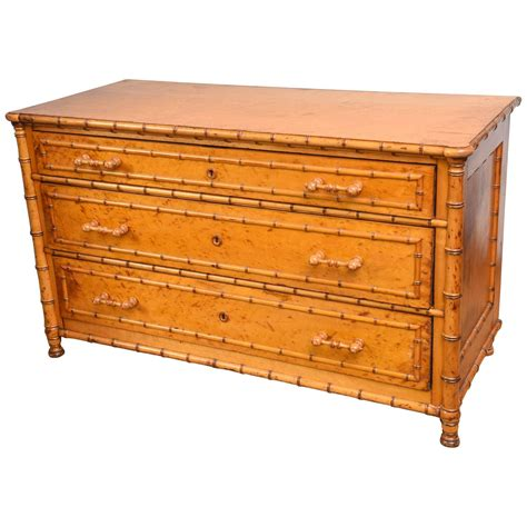 large birds eye maple faux bamboo dresser at 1stdibs