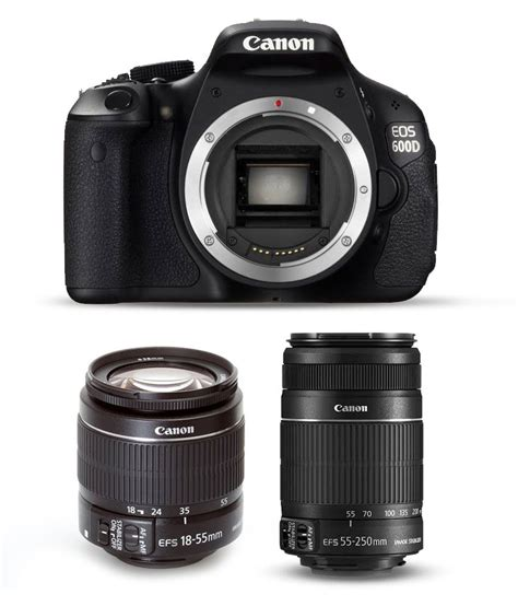 canon 600d price canon eos 600d with 18 55mm 55 250mm lens price in india