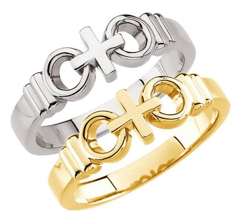 quot joined by quot cross wedding rings in white or yellow