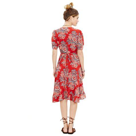 Dress Santai Floral Denim denim supply ralph floral waterfall hem dress in lyst