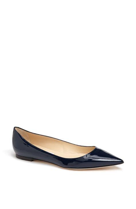 flat pointy toe shoes jimmy choo alina pointy toe flat in blue navy lyst