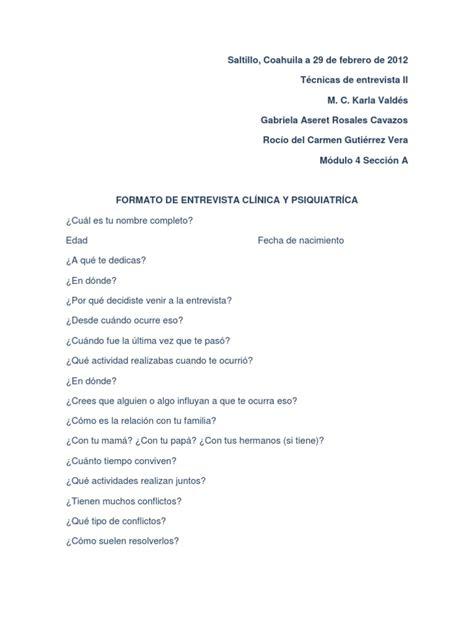 preguntas frecuentes en una entrevista psicologica formato de entrevista cl 205 nica y psiquiatr 205 ca
