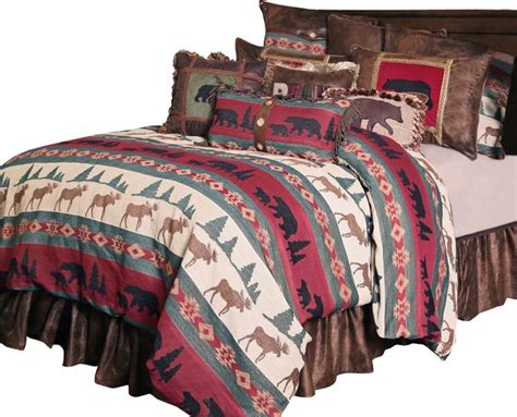takoma wildlife striped bedding set queen rustic