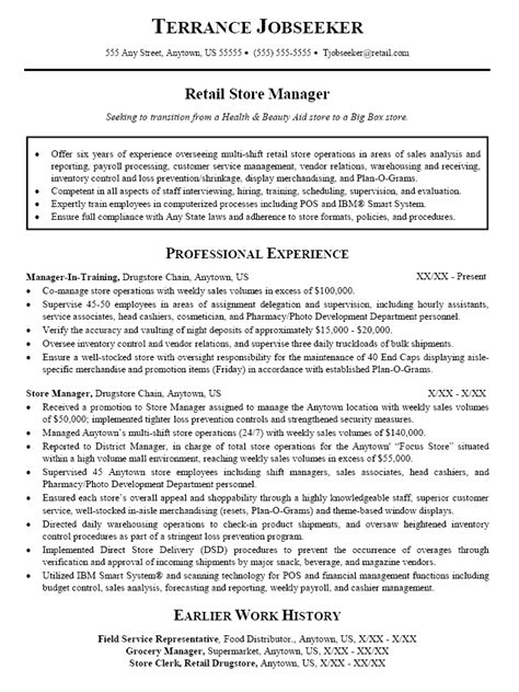 Store Manager Resume Exles resume sle for retail sales store manager