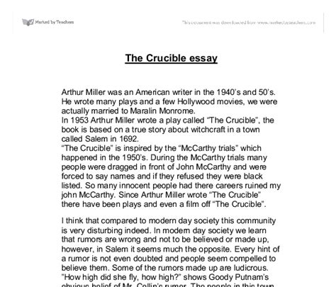 Introduction For The Crucible Essay by The Crucible Essay Gcse Marked By Teachers