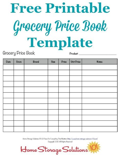 printable price list template grocery price book use it to compare grocery prices in