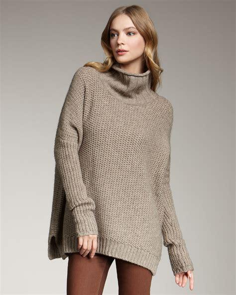 Sweater Rock vince honeycomb turtleneck sweater rock in gray lyst
