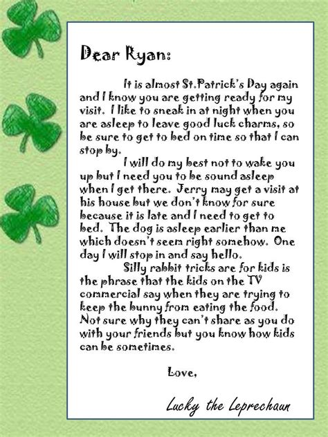 free printable letters from leprechaun leprechaun st patrick s day