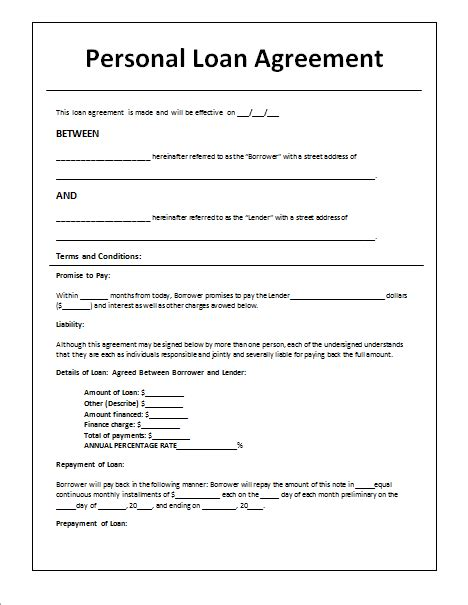 Loan Letter Template Uk 14 Loan Agreement Templates Excel Pdf Formats