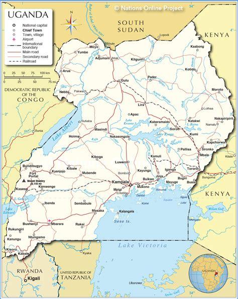 map of uganda uganda politische karte