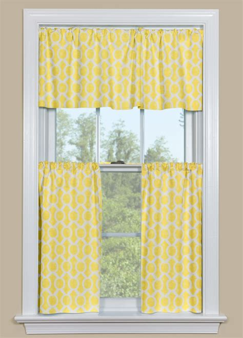 Red And Blue Valance Yellow Kitchen Curtains With A Geometric Design