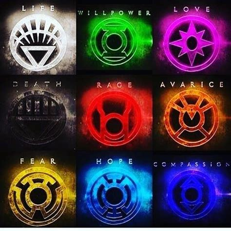 lantern corps colors what are all the lantern rings in dc what do they do and