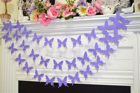 Edible Cake Decorations For Baby Shower Butterfly Garland Lavender Purple Butterflies Baby Shower