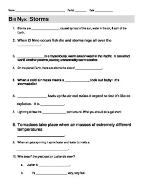 printable tornado quiz bill nye worksheet resultinfos