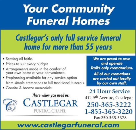 castlegar funeral chapel opening hours 411 9th ave