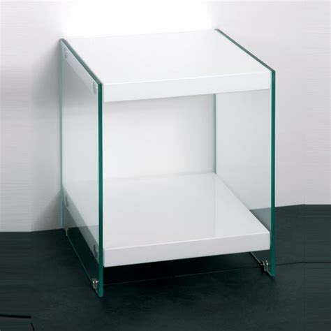 Olympic White High Gloss Top End Table With Glass Side
