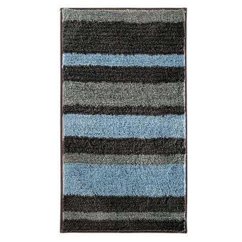 gray and white bathroom rugs interdesign stripz 34 in x 21 in bath rug in mocha gray 18910 the home depot