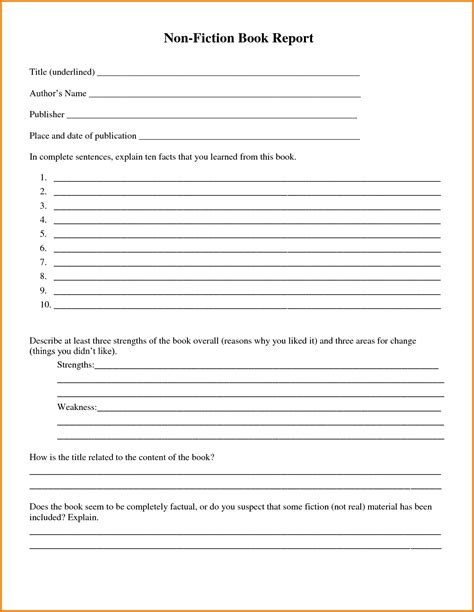 nonfiction book report template free printable book report forms for 4th grade free