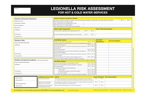 property risk assessment template practical guidance and template for legionella risk