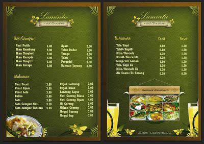 desain daftar menu makanan corel inspirasi desain menu makanan restoran inspirasi