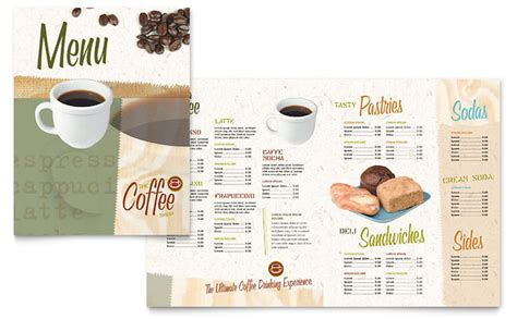 cafe menu template word free coffee shop menu template design
