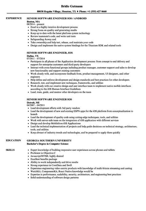 senior software engineer ios resume sles velvet