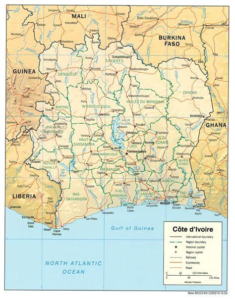 cote divoire cote d ivoire ivory coast maps perry casta 241 eda map