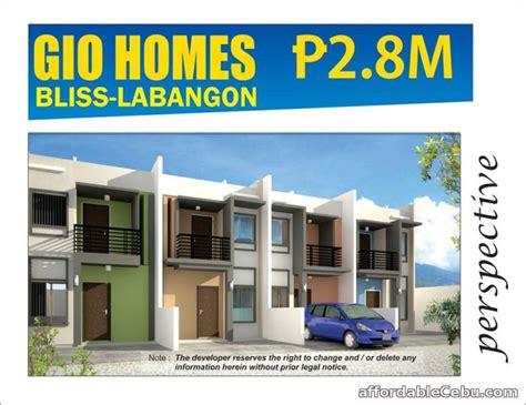 pre selling townhouse unit in gio homes bliss labangon