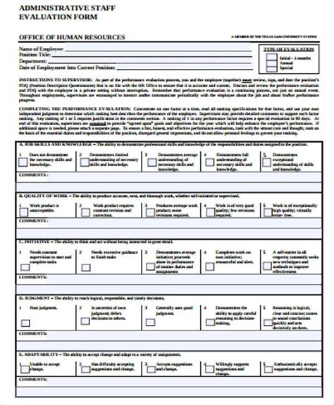 Sample Staff Evaluation Form 9 Examples In Word Pdf