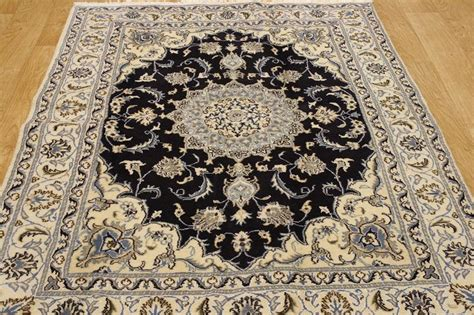 navy blue rug 5x7 wool silk navy blue 5x7 isfahan nain area rug carpet new ebay