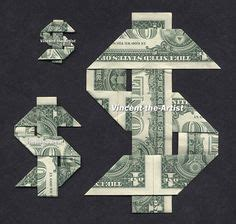 money origami letters made with real dollar bill