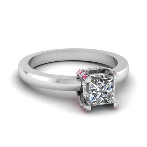 0 75 ct princess cut prong studded ring with pink