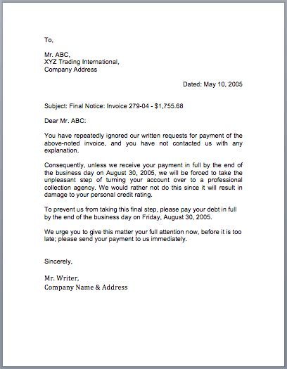 Business Letter Format For Collections sle collection letter free sle letters