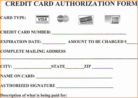 credit card authorization form template word authorization form template credit card authorization