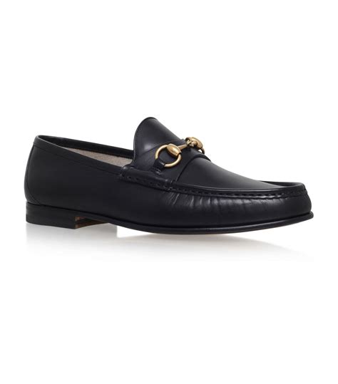 gucci pebbled leather horsebit loafer gucci horsebit leather loafer in black for lyst