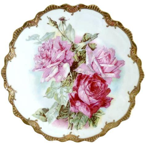 antique porcelain l with roses antique porcelain plate pink roses gold zeh scherzer