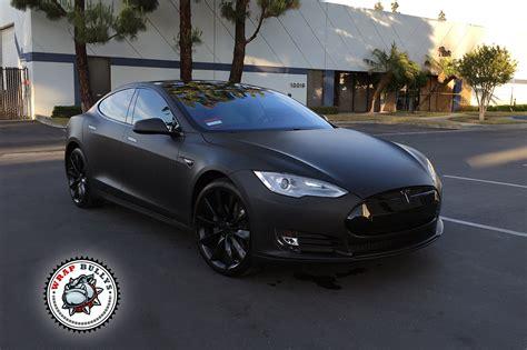 Deep Matte Black Tesla Car Wrap Wrap Bullys