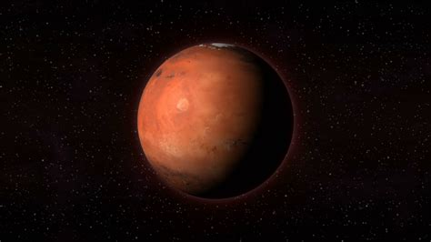 Mars Space planet mars in outer space spinning around its axis with